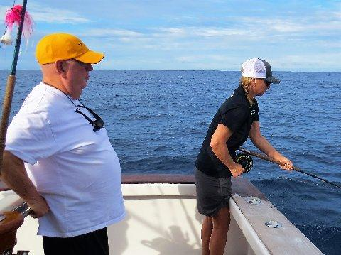 "Wanda Hair Taylor catching her first Blue Marlin on Fly, with Jake Jordan August 2017 aboard the vessel ""Dragin Fly"""
